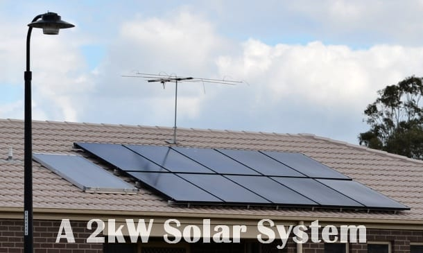 Modern solar panel setup 2kW on a roof