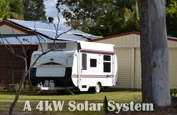 A 4kW solar system on roof top with trees surrounding