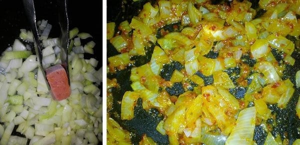 Adding Thai red chilli paste cube to onions