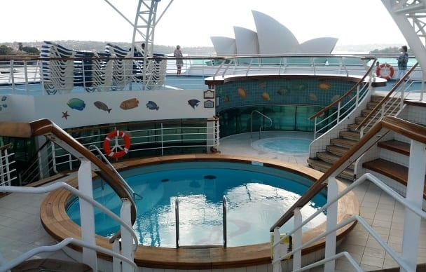 Adult only pool and spa area on Sea Princess cruise ship