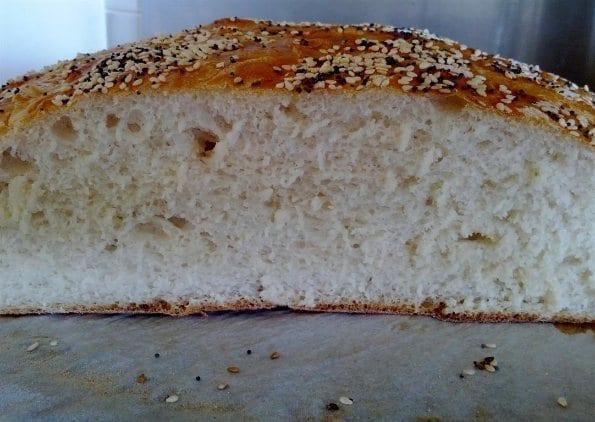 Home made bread cut
