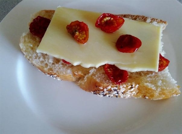 Home made bread with home dried cherry tomatoes