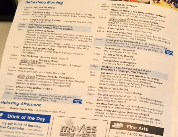 Daily program example from Sea Princess cruise ship