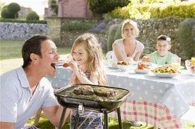 Family BBQ in garden