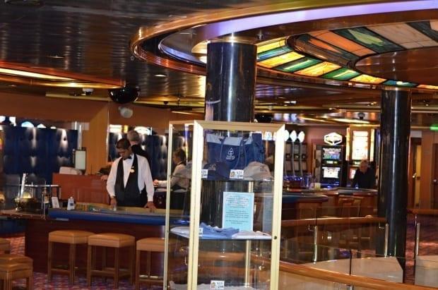 Gaming tables at casino on Sea Princess