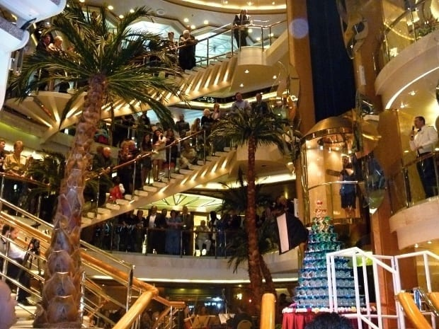 Internal stairs and foyer area of sea princess cruise ship