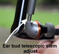 Motorola s11 flex HD Wireless Stereo Headphones ear bud telescopic stem arm adjusts