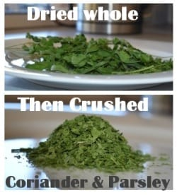 dehydrated coriander and parsley herb mix