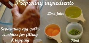 Preparing ingredients for gluten free lime meringue pie rind eggs lime juice