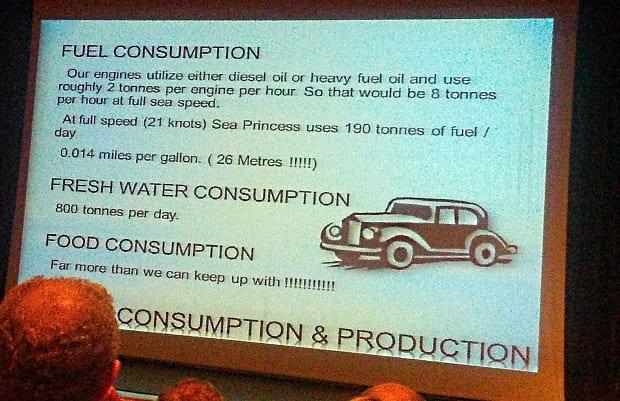 Sea Princess theatre information fuel consumption ship