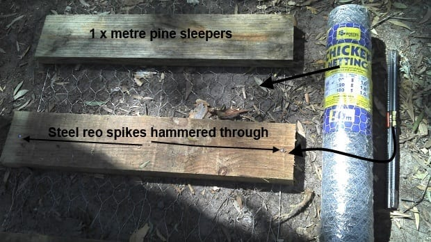 Sleeper path in chicken pen made with reo spikes chicken netting pine wood