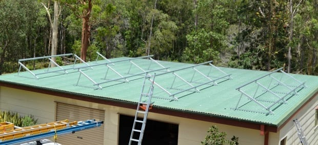 Solar install frames brackets stage done on shed roof 5kw pv system