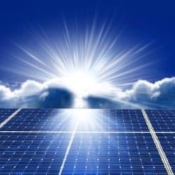 Solar panel sun rise