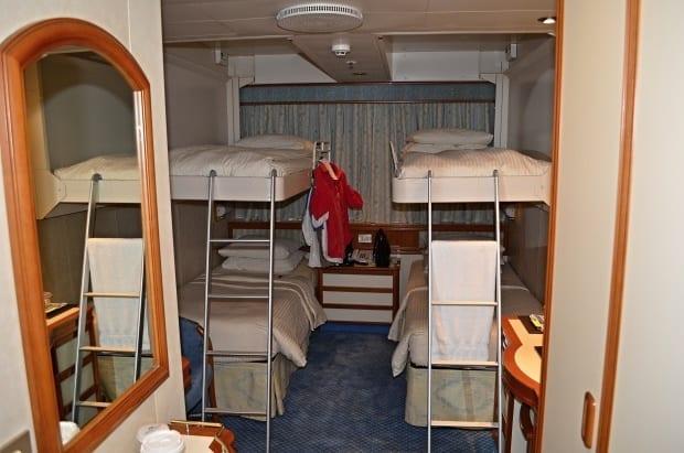 Standard  ocean view room bunk system 4 people Sea Princess cruise ship
