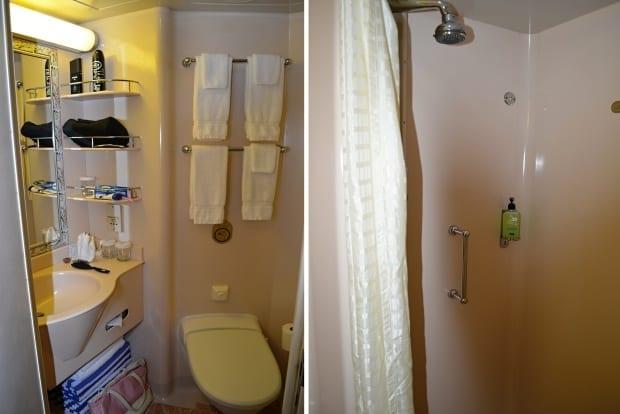 Standard  ocean view room shower bathroom Sea Princess cruise ship