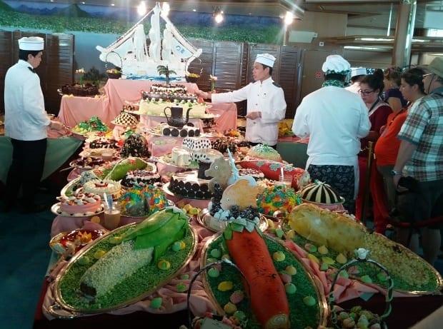 Sweets cake display in Sea Princess bistro restaurant