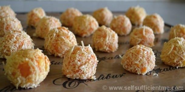Tamarillo and pineapple coconut coated fruit balls on Excalibur paraflex sheet
