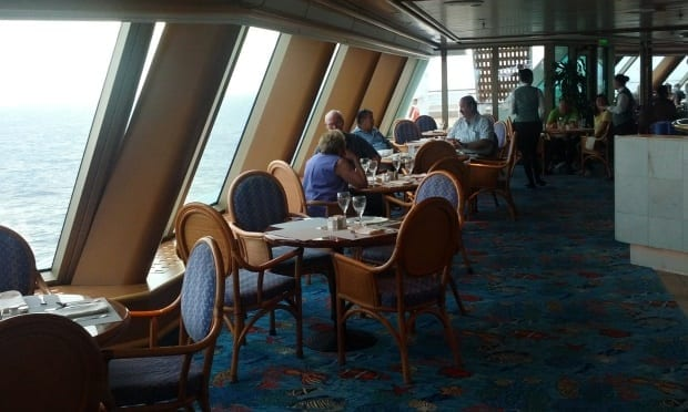 bistro seating with ocean views on sea princess cruise ship