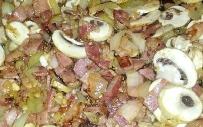 Frying off bacon onion garlic and mushrooms for Coq au Vin