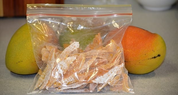 Preserved mango in zip bag dehydrated (dried)