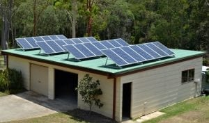 Solar PV system 5kw installed on shed roof