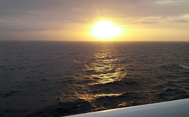 sunset on the Sea Princess cruise ship