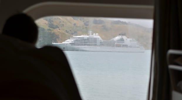 view from cabin window Sea Princess cruise ship